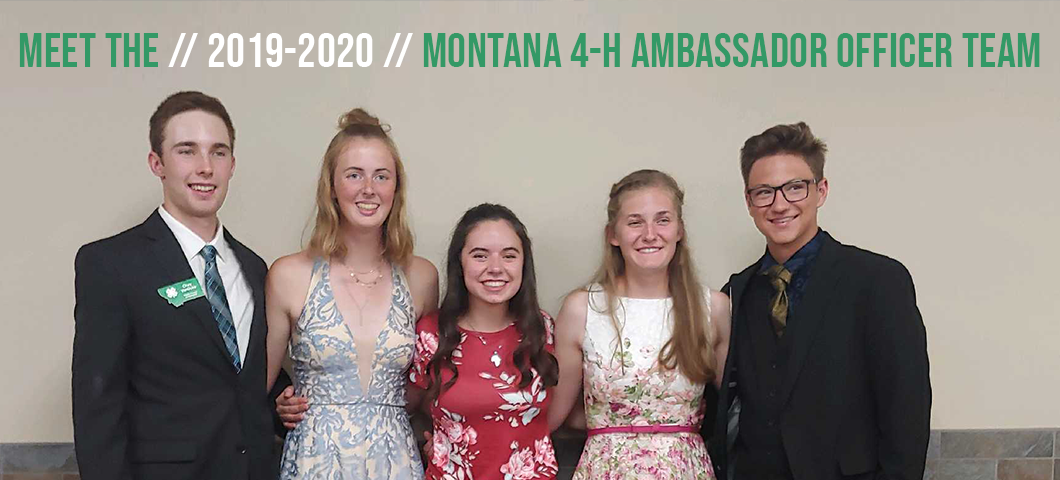 Photo of 2019-2020 officer team dressed in nice cloths at the Montana 4-H Congress banquet.