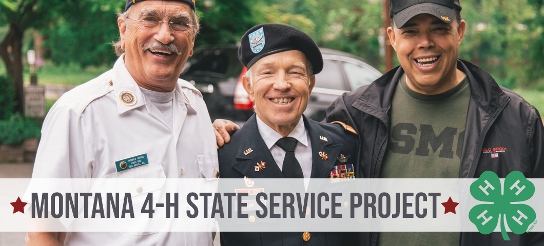Montana 4-H state service project with 4-H clover graphic and image of 3 veterans smiling.