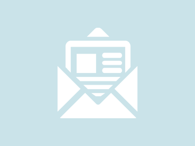 icon of newsletter coming out of an envelope on blue background