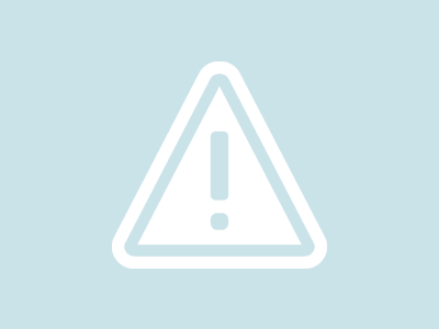 caution icon in white on blue background