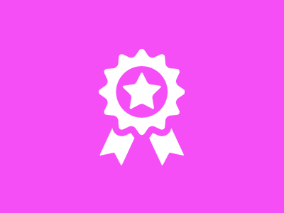pink backgrpound with white award ribbon icon