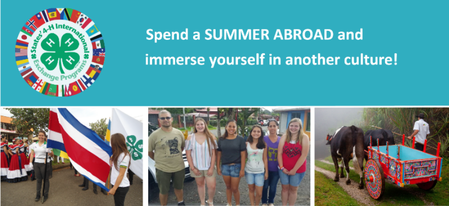 blue banner that reads spend a summer abroad and immerse yourself in culture with states 4-H logo and 3 images from costa rica exhanges.